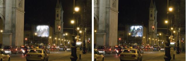 Kontrastsehen bei Nacht ohne      Kontrastehen bei Nacht mit i.Scription Optimierung